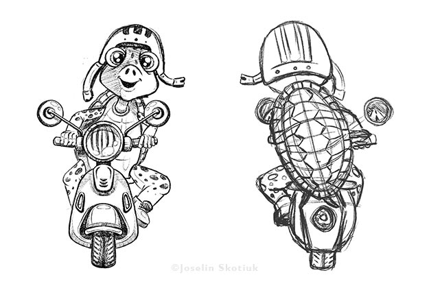 turtle-and-motorcycle-clothing-product-sketch
