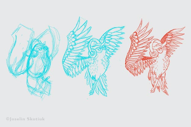 whimsical-owl-sketch-process
