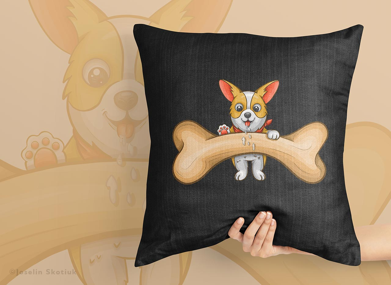 happy-dog-with-a-bone-pillow