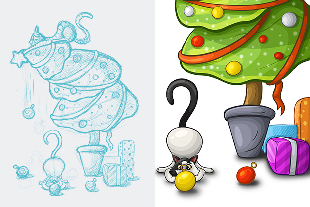 cristmas-tree-and-cats-illustration-sketch-detail