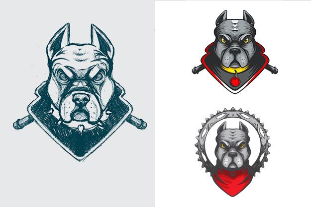pitbull-dog-mascot-illustration-for-honda-dream-sketch